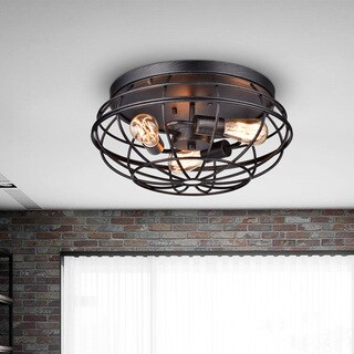 Cecilia Antique Industrial Black Iron Flush-mount Chandelier