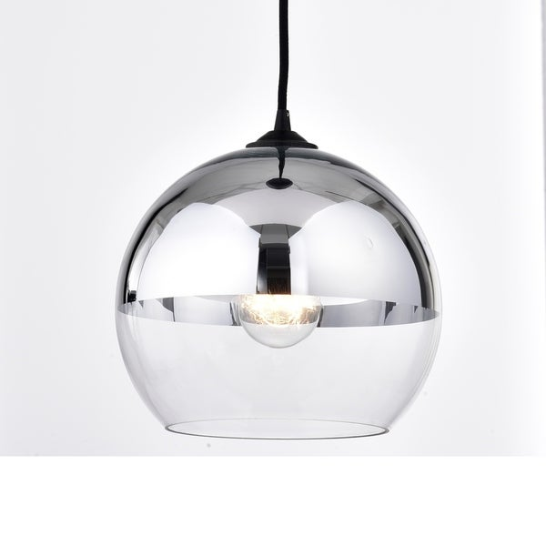Luna Antique Black Single Light Chrome Finish Glass Globe Pendant Chandelier