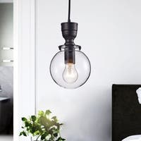 Luna Mini Clear Glass Globe Pendant Chandelier in Antique Black