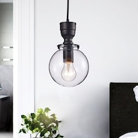 Luna clear glass globe pendant chandelier in antique black free luna mini clear glass globe pendant chandelier in antique black mozeypictures Image collections