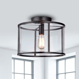 Link to La Pedriza Antique Black Clear Glass Cage Flush Mount Chandelier - N/A Similar Items in Semi-Flush Mount Lights