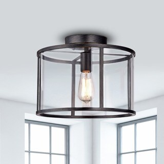 La Pedriza Antique Black Finish Clear Glass Industrial Cage Flush Mount Chandelier
