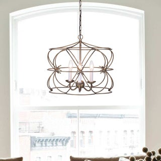 Joshua Antique Copper 3-Light Iron Stem Cage Chandelier