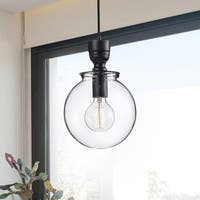 Luna Medium Clear Glass Globe Pendant Chandelier in Antique Black