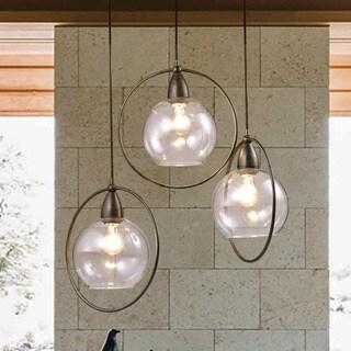 Luna Antique Black 3-Light Clear Glass Globe Iron Loop Pendant Chandelier