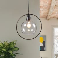 Luna Antique Black Single Light Glass Iron Loop Pendant Chandelier