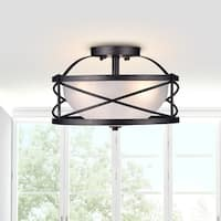 The Lighting Store Blanca Antique Black/Opal Iron/Glass 3-light Semi-flush Mount Chandelier