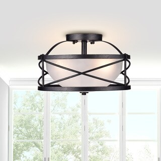 Blanca 3-Light Antique Black Finish Opal Glass Shade Semi-Flush Mount Chandelier