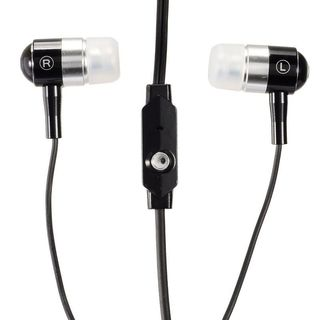 Insten Black 3.5mm Bullet Integrated Microphone Stereo Headset