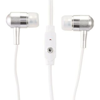 Insten White 3.5mm Bullet Integrated Microphone Stereo Headset