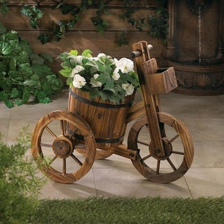 Country Style Wooden Three Wheel Plant Holder