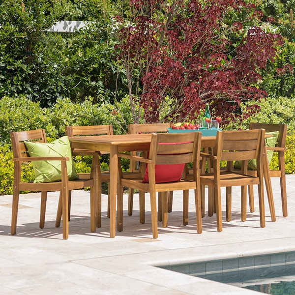 Stamford Outdoor 7-piece Rectangle Acacia Wood Dining Set by Christopher Knight Home. Opens flyout.
