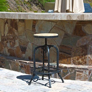 Newman Outdoor Adjustable Acacia Wood Barstool by Christopher Knight Home