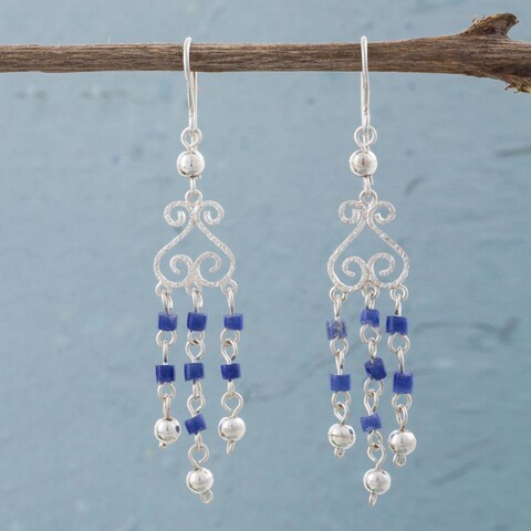 Handmade Sterling Silver 'Blue Curls' Sodalite Earrings (Peru)
