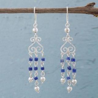 Handcrafted Sterling Silver 'Blue Curls' Sodalite Earrings (Peru)