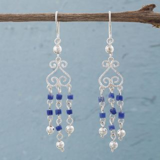Handcrafted Sterling Silver 'Blue Curls' Sodalite Earrings (Peru)