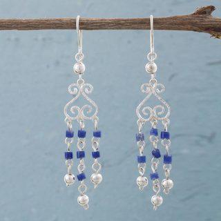 Handmade Sterling Silver 'Blue Curls' Sodalite Earrings (Peru)