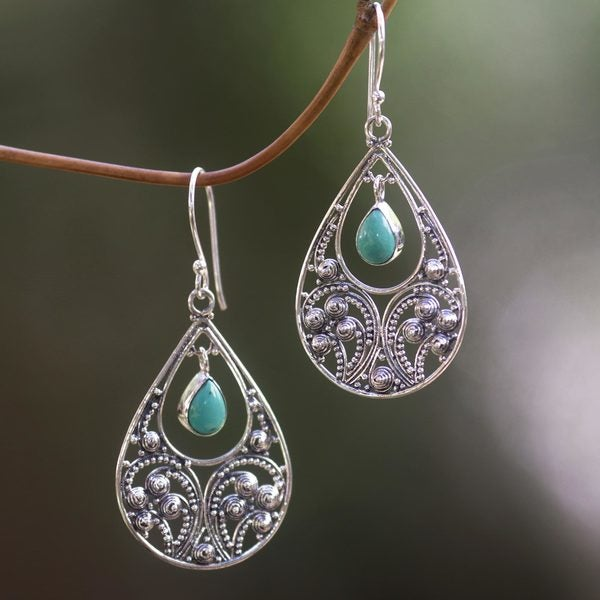 Handmade Sterling Silver X27 Bali Crest Turquoise Earrings Indonesia