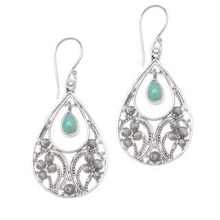 Link to Sterling Silver Bali Crest Turquoise Earrings (Indonesia) Similar Items in Earrings