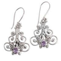 Handcrafted Sterling Silver 'Resting Butterfly' Amethyst Earrings (Indonesia)