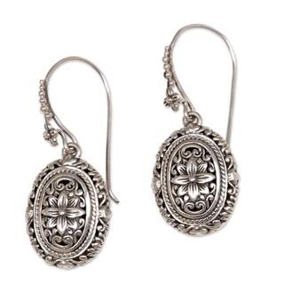 Handcrafted Sterling Silver 'Pura Lotus' Earrings (Indonesia)