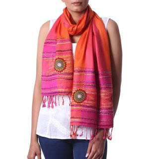 Handcrafted Viscose 'Sunset Blooms' Scarf (India)