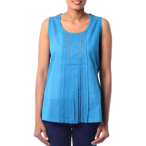 Handmade Cotton 'Varkala Sea' Blouse (India)