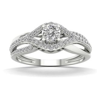 De Couer 1/3ct TDW Diamond Split Shank Engagement Ring - White