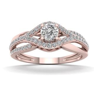 De Couer 1/3ct TDW Diamond Split Shank Engagement Ring - Pink