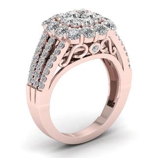 De Couer 2ct TDW Diamond Halo Engagement Ring