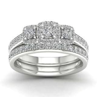 De Couer 1ct TDW Diamond Three Stone Bridal Set - White
