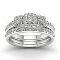 De Couer 1ct TDW Diamond Three Stone Bridal Set - White
