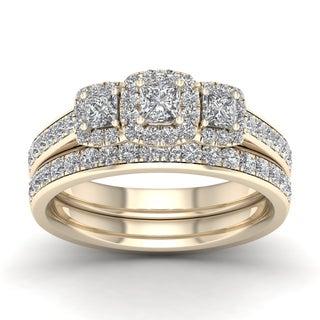 De Couer 1ct TDW Diamond Three Stone Bridal Set - Yellow