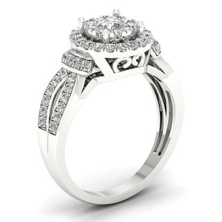 De Couer 3/4ct TDW Diamond  Halo Engagement Ring - White