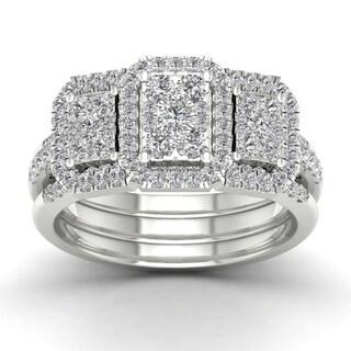 De Couer 1ct TDW Diamond Promise Bridal Set - White