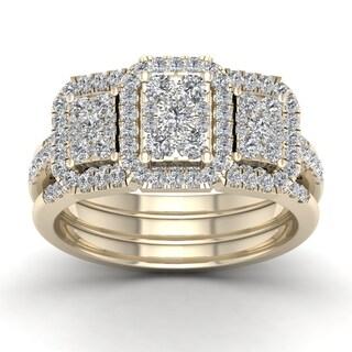 De Couer IGI Certified 1ct TDW Diamond Promise Bridal Set - Yellow