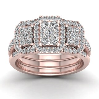 De Couer 1ct TDW Diamond Promise Bridal Set - Pink