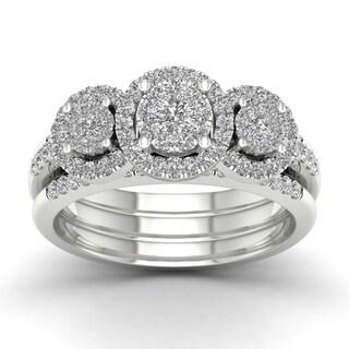 De Couer 3/4ct TDW Diamond Three Stone Bridal Set - White