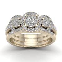 De Couer 3/4ct TDW Diamond  Promise Bridal Set - Yellow