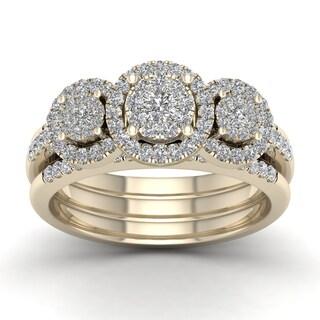 De Couer 3/4ct TDW Diamond Promise Bridal Set - Yellow