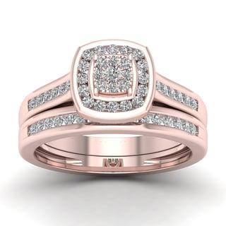 De Couer 1/2ct TDW Diamond Cluster Bridal Sets - Pink