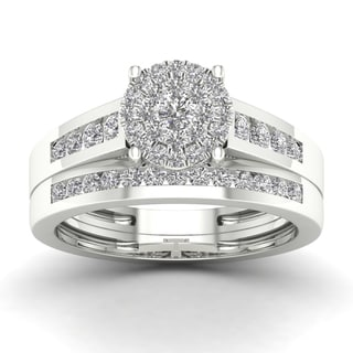 De Couer 3/4ct TDW Diamond Cluster Bridal Sets