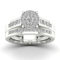 De Couer  IGI Certified 3/4ct TDW Diamond Cluster Bridal Sets - White
