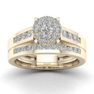 De Couer 3/4ct TDW Diamond Cluster Bridal Sets - Yellow