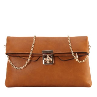 Diophy Front Flower Turn Lock Bifold Clutch Accented with Removable Chain Strap