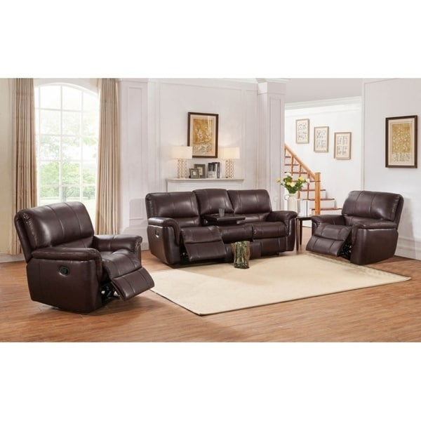 Shop Aventura Leather Sofa Loveseat And Recliner Set