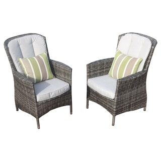 Direct Wicker Antibes Outdoor Wicker Armrest Dining Chairs with Cushions (Set of 2)
