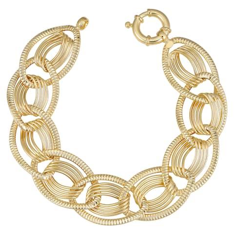 Fremada Italian 14k Yellow Gold Oval Link Bracelet (19mm, 7.75 inch)