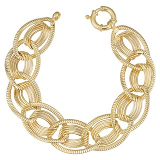 Fremada Italian 14k Yellow Gold Oval Link Bracelet (19mm, 7.75 inch)