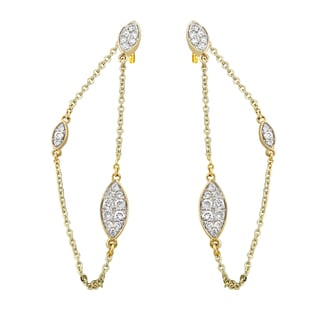 14k Yellow Gold 1/2 ct TDW Diamond Front-Back Chain Earrings - White H-I